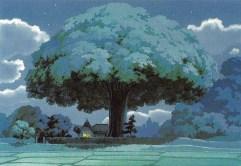 ghibli fond peinture-totoro fond arbre