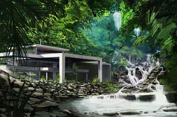 waterfall_house maison chutes eau