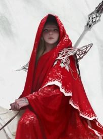 dessin fille robe rouge