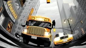 taxi bus fisheye dessin
