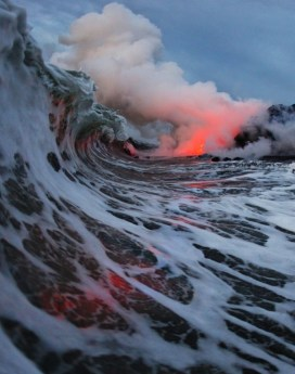 vague mer volcan lave