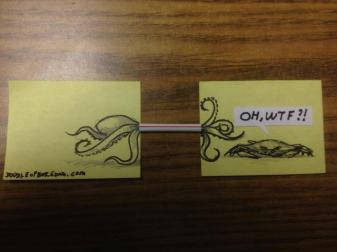dessin post it fun paille poulpe