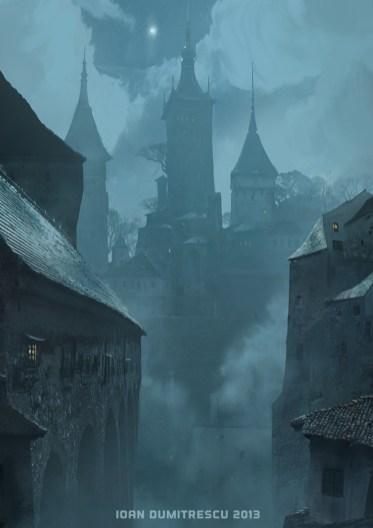ville medievale nuit dessin