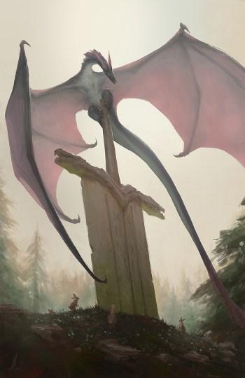 dessin dragon epee geante