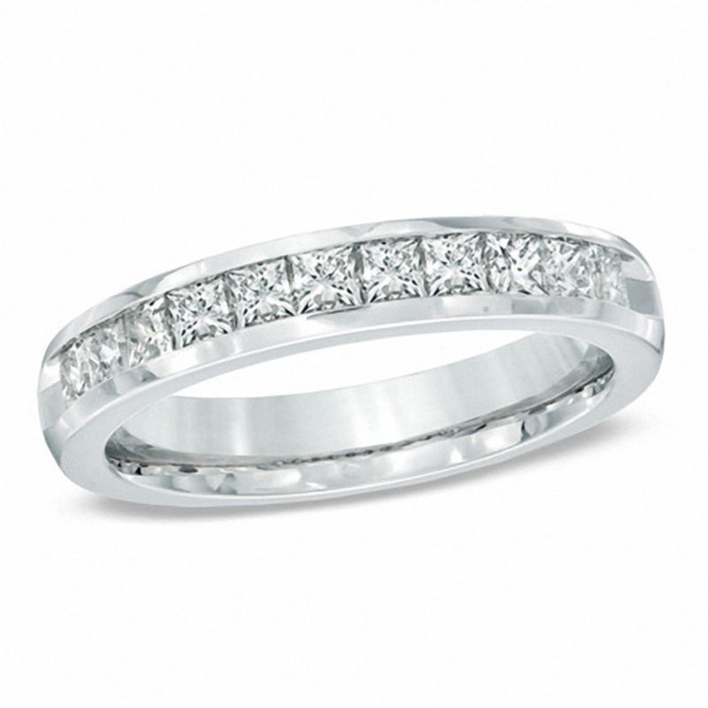 t w princess cut diamond wedding band in 14k white gold