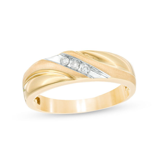 Mens 18 CT TW Diamond Three Stone Wedding Band In 10K