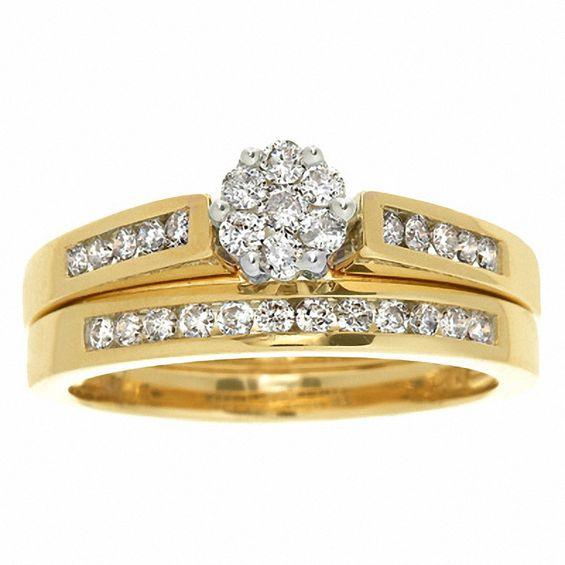 1 CT TW Diamond Flower Bridal Set In 10K Gold Bridal
