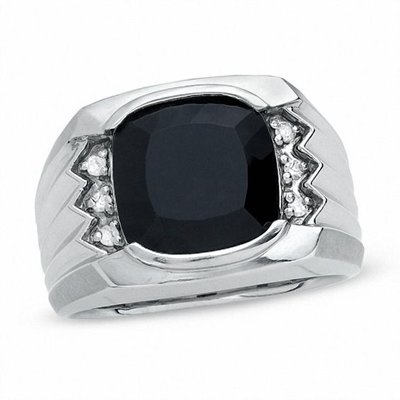 Mens Cushion Cut Onyx Ring In Sterling Silver With