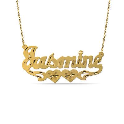 12k Gold Fill Bronze Double Heart Diamond Cut Name Plate