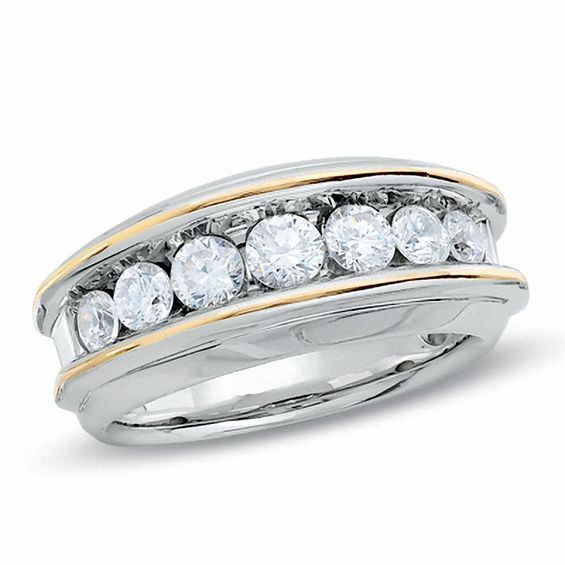 Mens 1 12 CT TW Diamond Seven Stone Wedding Band In