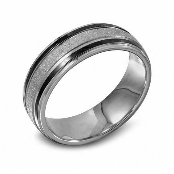Mens 70mm Diamond Cut Stainless Steel Band With Black IP