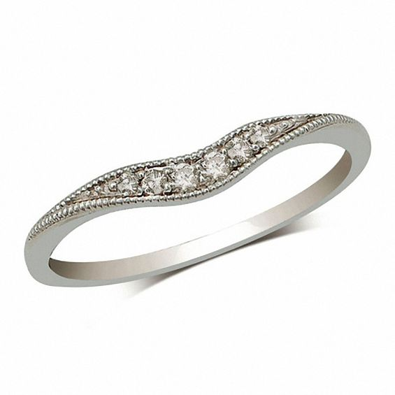 Diamond Accent Vintage Style Contour Band In 14K White
