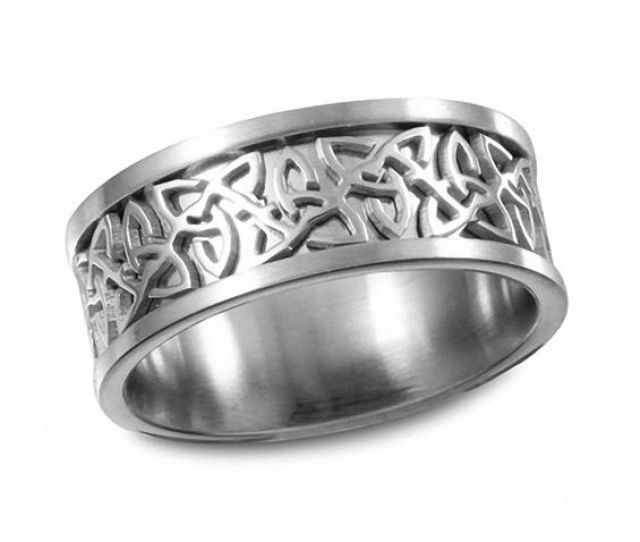 Mens  Mm Celtic Knot Wedding Band In Stainless Steel