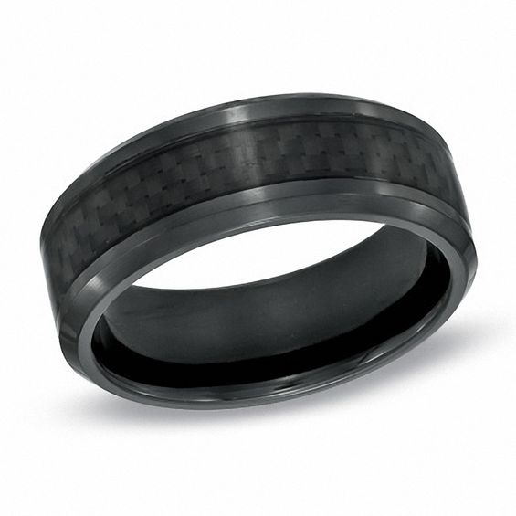 men s 8 0mm comfort fit carbon fiber inlay black titanium wedding band size 10