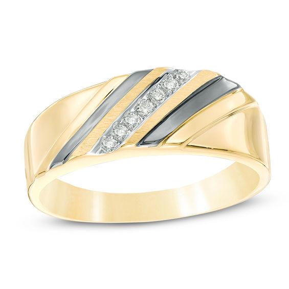 Mens Diamond Accent Slant Wedding Band In 10K Gold