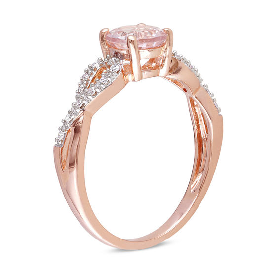 7 Gold Ring Rose And Diamond 10k 0mm Morganite Accent