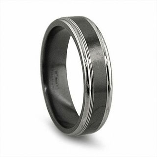 Edward Mirell Mens 65mm Grey Edged Wedding Band In Black