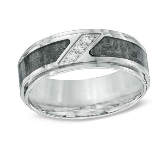 T W Diamond Three Stone Grey Carbon Fiber Comfort Fit Stainless