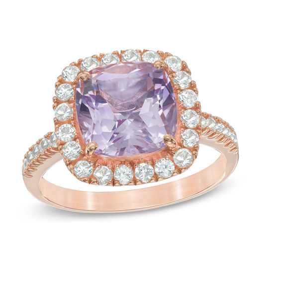 Rose De France Amethyst And Lab Created White Sapphire