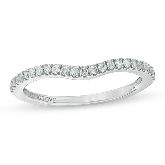 vera wang love collection 1 6 ct t w diamond contour wedding band in 14k
