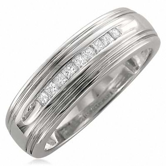 Mens 15 CT TW Square Cut Diamond Wedding Band In 14K