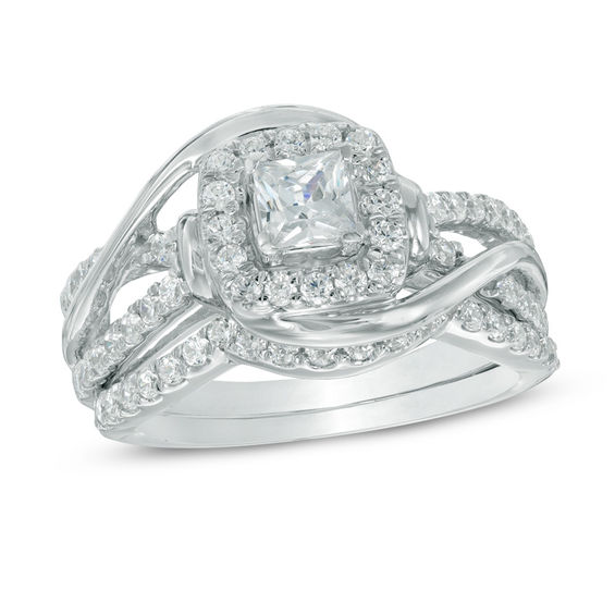 1 CT TW Princess Cut Diamond Swirl Frame Bridal Set In