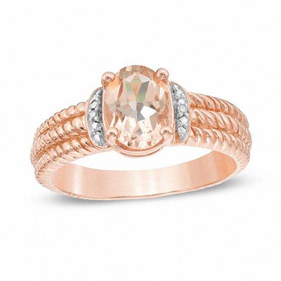 7 And Morganite Rose 0mm Gold 10k Ring Diamond Accent
