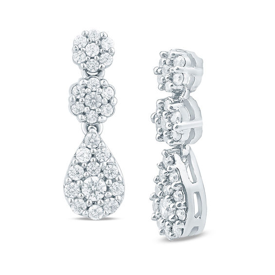 34 CT TW Diamond Double Flower Cluster Drop Earrings