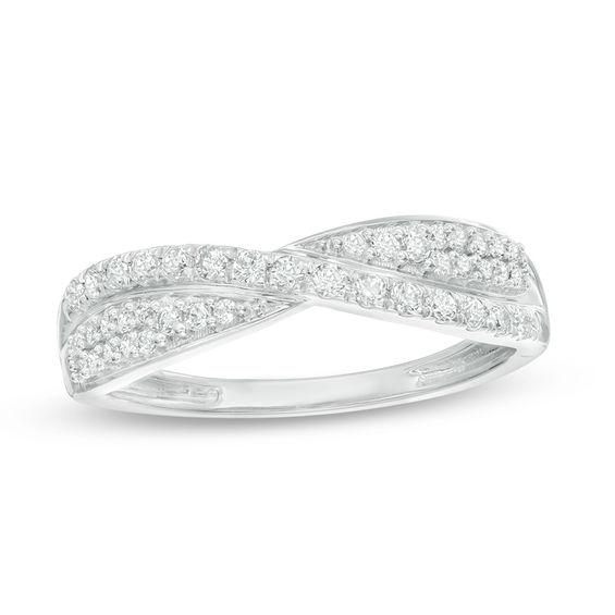 13 CT TW Diamond Crossover Wedding Band In 10K White