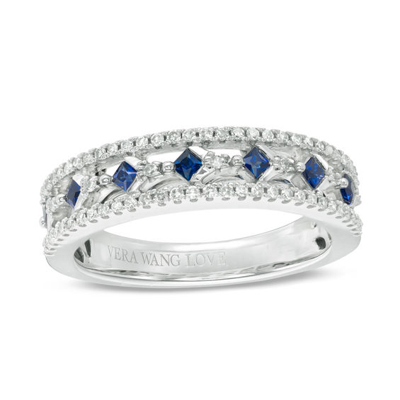Vera Wang Love Collection Princess Cut Blue Sapphire And 1
