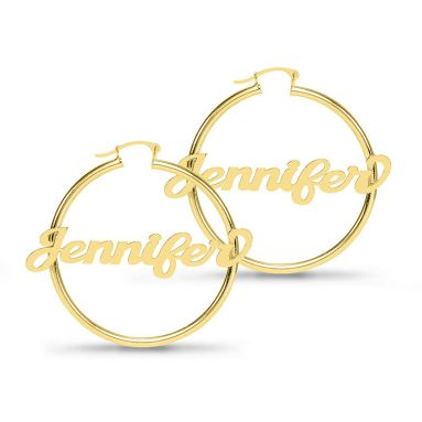 Script Name Tube Hoop Earrings in Sterling Silver with 14K Gold Plate (1 Line)