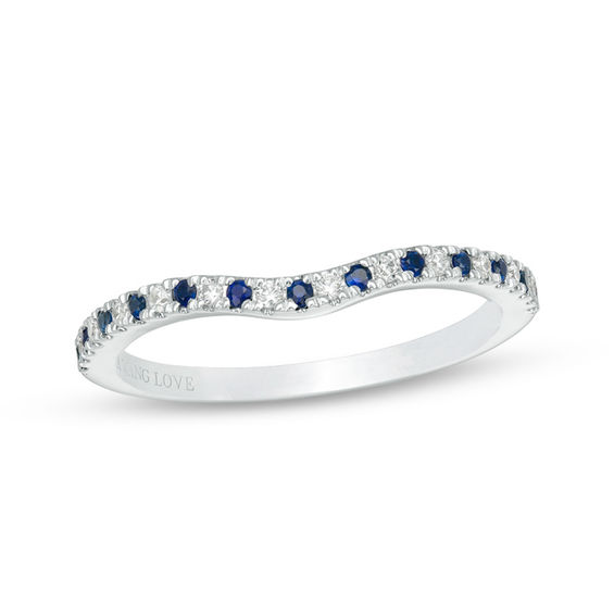 vera wang love collection blue sapphire and 1 15 ct t w diamond contour wedding