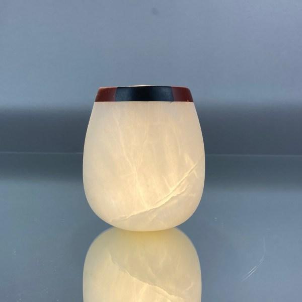 Zali Zalkind Stone Carving Alabaster Bowl with soapstone and pipestone onlay rim