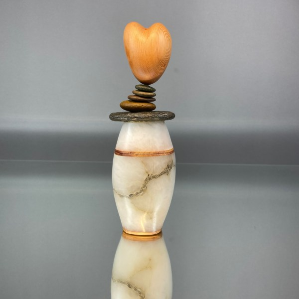 Zali Zalkind Sculpture Stone Carver Container Cairn Heart Carving
