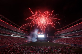 DENVER, CO - JULY 4: Fans are treated to a fireworks display after a Major League Lacrosse game between the Ohio Machine and Denver Outlaws at Sports Authority Field at Mile High on July 4, 2012 in Denver, Colorado. The Outlaws defeated the Machine 17-13. (Photo by Justin Edmonds/Getty Images)