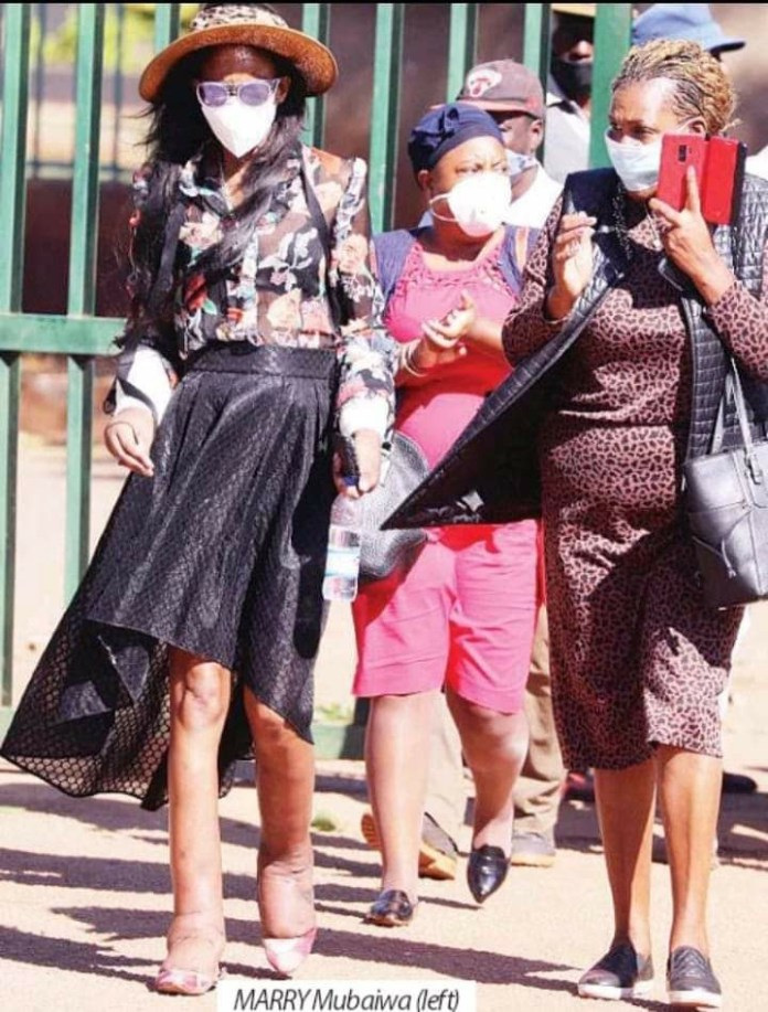 Legs swollen…Marry Chiwenga at the Harare Magistrates Court