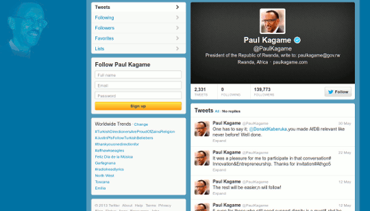 Paul Kagame on Twitter