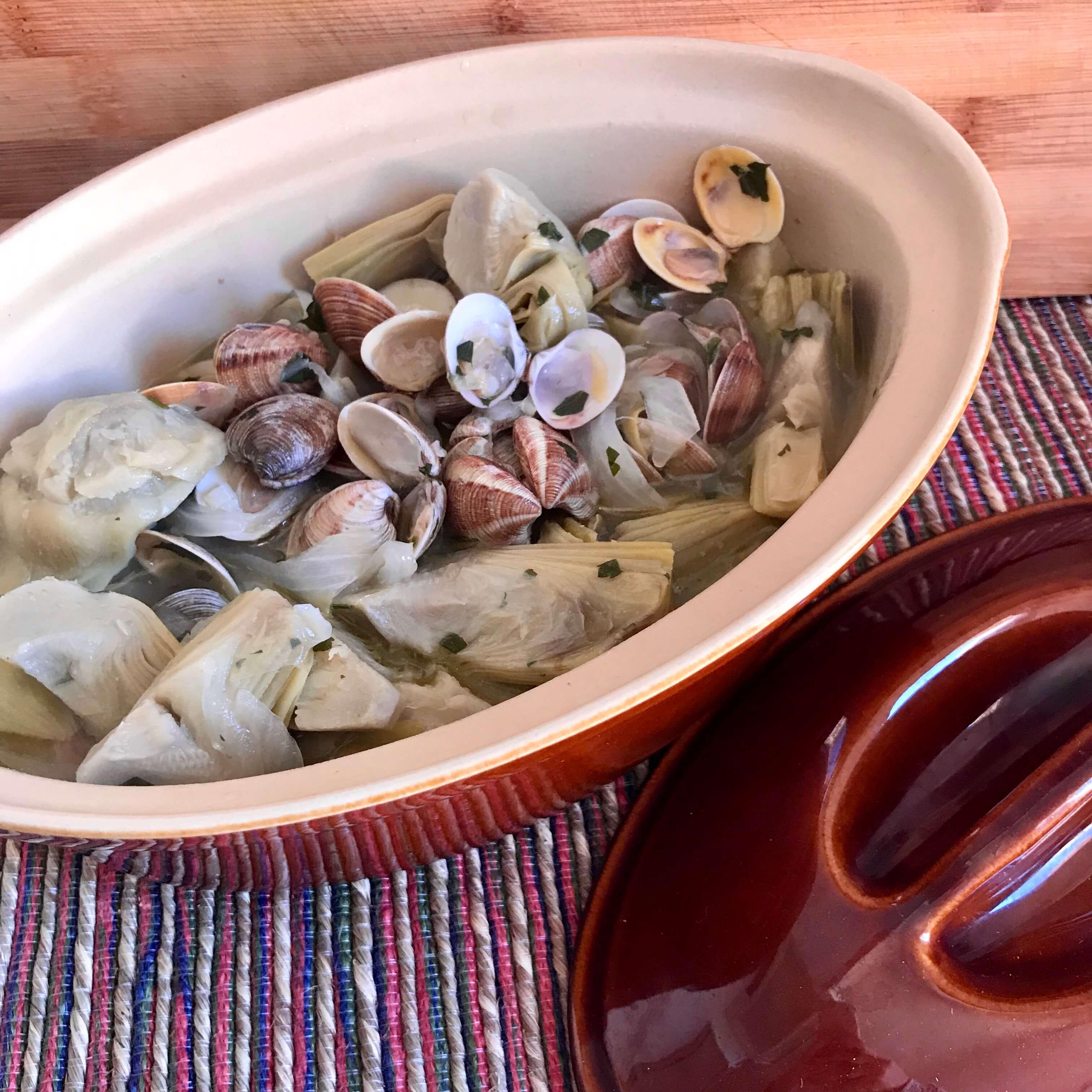 Receta de alcachofas con chirlas