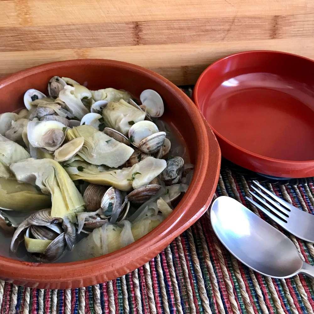 Receta de alcachofas con chirlas IV