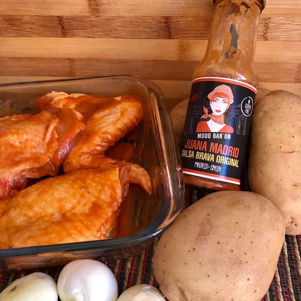 Pollo asado con salsa brava Juana Madrid