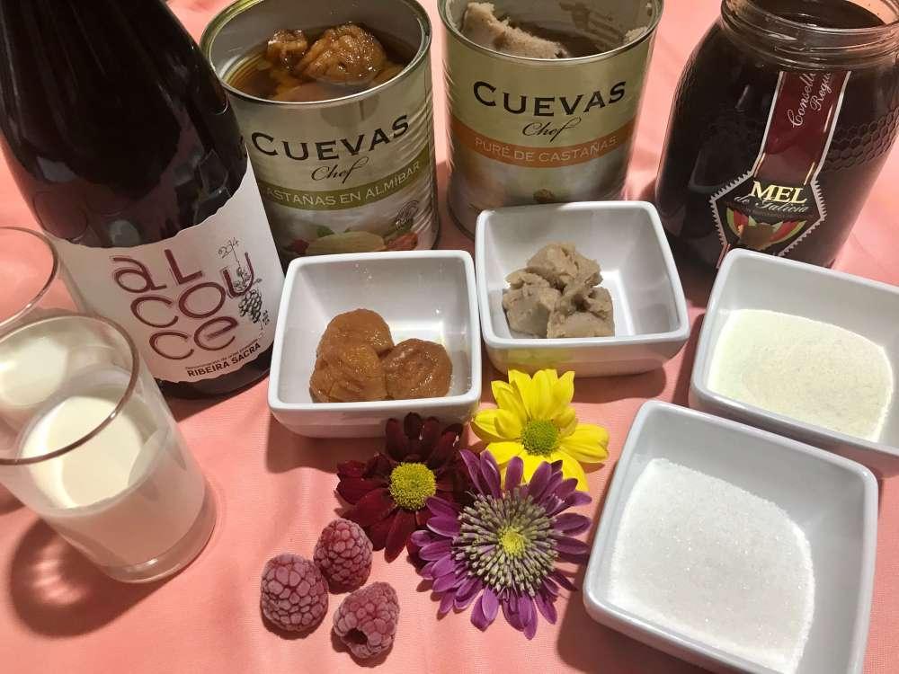 Ingredientes gallegos para preparar helado de yogurt con mousse de castañas