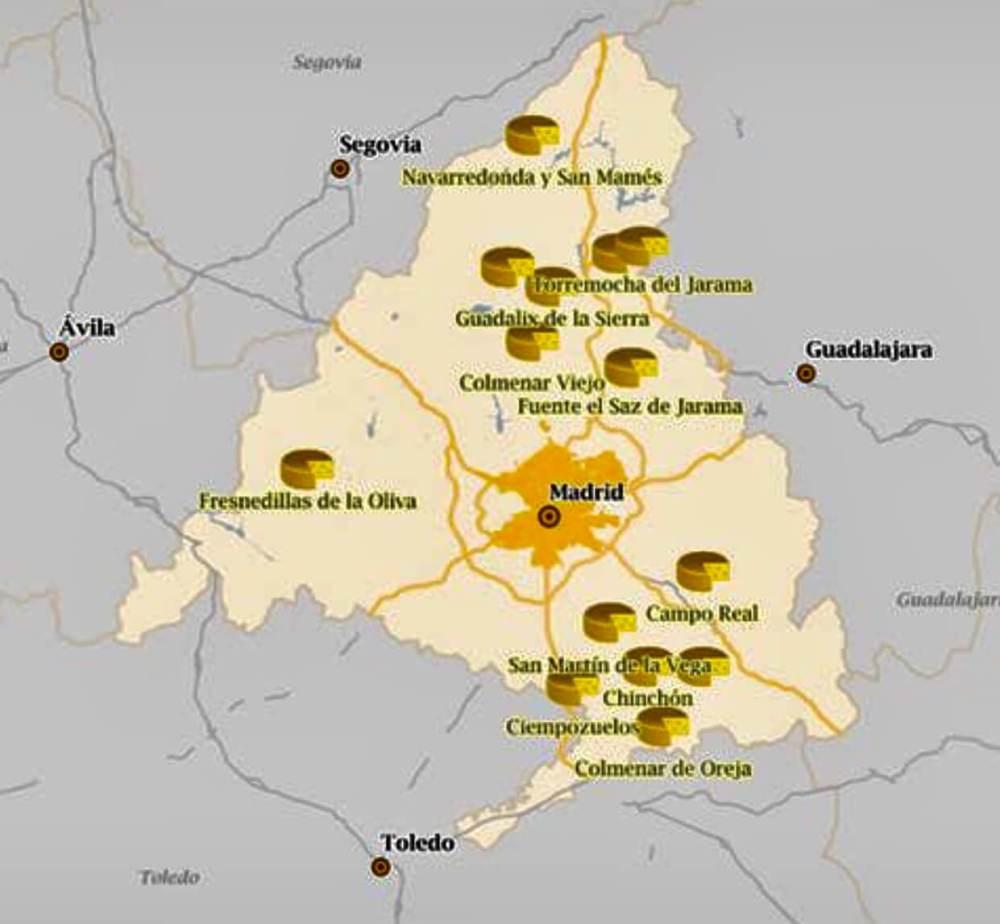 Mapa de los quesos de la Comunidad de Madrid
