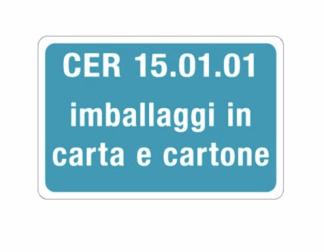 Targa CER 15.01.01 IMBALLAGGI IN CARTA E CARTONE