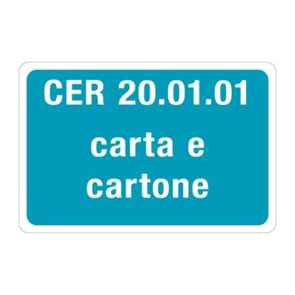 Targa CER 20.01.01 CARTA E CARTONE
