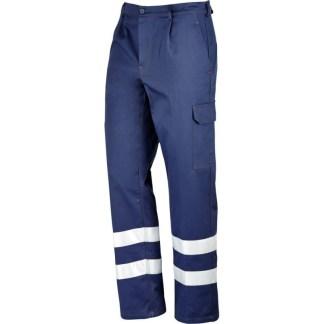 Pantaloni blu con bande rifrangenti