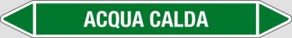 Etichetta autoadesiva per tubazioni: ACQUA CALDA art. 99750