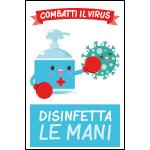 Targa: COMBATTI IL VIRUS DISINFETTA LE MANI art. 35555