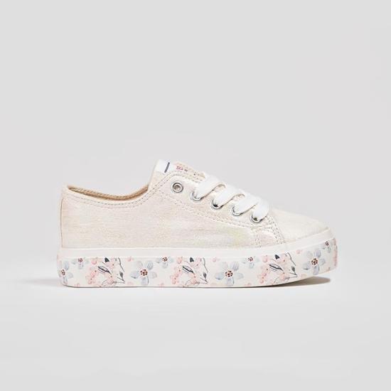 zapatillas blancas de lona metalizada para niñas de Conguitos