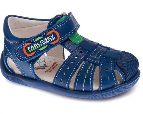 Sandalias tipo cangrejeras en color azul con cierre de velcros para bebé y niño de Pablosky