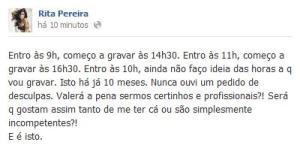 Comentário Facebook da atriz da TVI